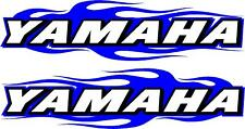 "Yamaha snowmobile flame 2 sticker decal set blue  2.5"" x 11"" each"