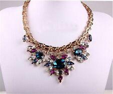Hot Seller Fashion Crystal Rhinestone Drop Flower Statement Choker Bib Necklace
