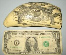 """Scrimshaw Sperm whale tooth resin REPRODUCTION """"EL PASO""""  Texas 6 inch Pistols"""