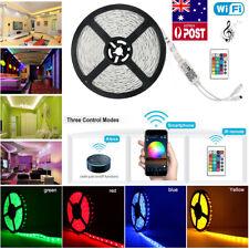 5M 5050 SMD RGB LED Strip Light Tape Wifi APP Alexa Music Control IR Remote 12V