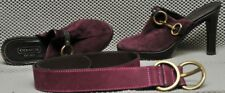 "Coach P560 Karsen 5B high heel Mules purple suede top & match Belt small 30""-34"""