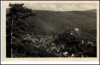 Schwarzburg Thüringen DDR Postkarte 1955 Blick vom Trippstein Panorama gelaufen