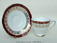 Vintage 1970's Royal Stafford 8686 Red Scrolls Pattern Tea Cups & Saucers in VGC