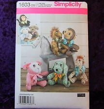 Simplicity 1603 Stuffed Toy Sewing Pattern 4 Animals Monkey Dog Lamb Pony 2 Size