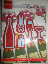 Creatables Marianne Design Champagne Sekt Wein m Etikett Gläser f Stanzmaschinen