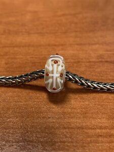 Authentic Trollbeads White Cross Design On Beige Base Unique Ooak Bead New!!