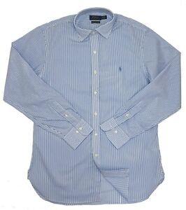 "Ralph Lauren Mens Shirt Striped Slim Fit Blue / White Size 16.5"" 42"