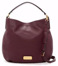 $428 NWT Marc by Marc Jacobs New Q Hillier Leather Hobo Handbag DARK WINE