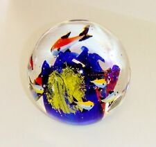 1107~Heavy (4 lbs) Art Glass Ocean Scene Paperweight Blue Yellow Orange Fish**