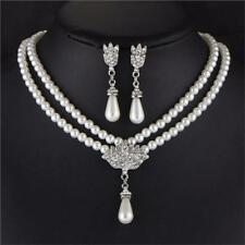 Freshwater Pearl White Drop Pearl Necklace Earrings Set Crystal Beaded Chain