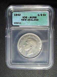 1942 New Zealand 1/2 Half Crown, ICG AU 58
