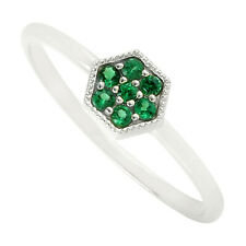 Women Gift 0.18ct Natural Tsavorite Stackable Ring 18k White Gold Jewelry