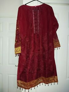 Pakistani Indian Designer Embroidered Readymade Trouser Suit 3 Piece Maroon L