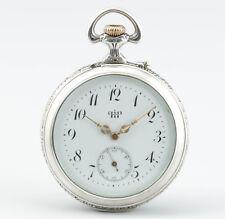 Seltene Jugendstil Silber Taschenuhr mit Wecker Parrenin & Faivre Schweiz 1900