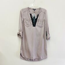NWT Express Military Lace Up Dress Tunic Shirt Utility Style XS Taupe Roll Tab