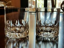 Pair Eisch German Crystal circle X criss cross double old fashioned DOF rocks
