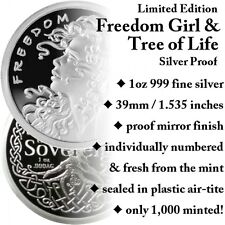 1 OZ SILVER COIN FREEDOM GIRL-TREE OF LIFE PROOF-# ON COIN -COA-ONLY 1000 MINTED