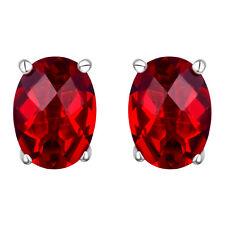 #10608 2.4ct. Ruby Red Helenite Oval Stud Earrings in 925 Sterling Silver