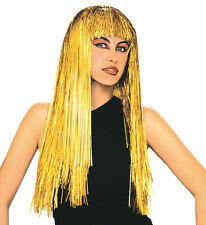 Ladies Gold Tinsel Wig Long Straight Hair Womens 80s Fancy Dress Space Party NEW