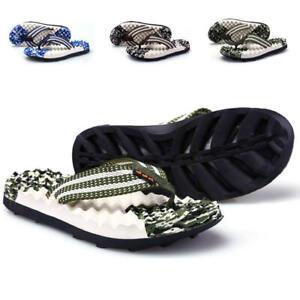 Men's Flip Flop Massage Slippers Thong Sandals Textile Strap Summer Beach Shoes
