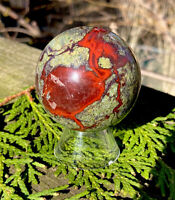 188g NATURAL AUSTRALIAN DRAGON BLOOD STONE CRYSTAL HEALING SPHERE Reiki Charged