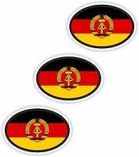"""3x DDR Oval Flag Stickers (0.8""""x1.2"""") Bumper Helmet"""