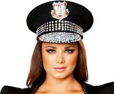 Adult Women Studded Patrol Police Cop Captain Hat Halloween Outfit Accessory New