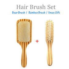 Bamboo Wood Paddle Brush Women & Men Wavy Long Loose Hair Style + Free Gift Comb