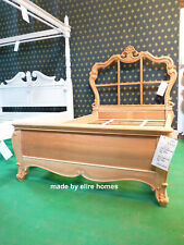 Small Double 4' DIY bed Designer handcrafted 100% Mahogany French baroque style