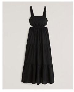 Abercrombie & Fitch Linen-Blend Cutout Maxi Dress Black Size XS