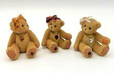 More details for 3 miniature cherished teddies birthstone bears november july april vintage 1996