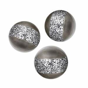Schonwerk Silver Decorative Orbs for Bowls and Vases Set of 3 Resin Sphere Ba...