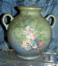antique weller double handled hudson blue & green vase signed mclaughlin