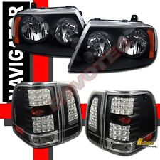 2003-2006 Lincoln Navigator Black Headlights + LED Tail Lights Set RH + LH