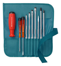 PB Swiss Tools PB 8218.PE Screwdriver Set Slotted/Phillips in Rollup Case Petrol