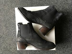 Russell & Bromley Cavendish Black Nubuk Brogue Chelsea Boots Size 5/38