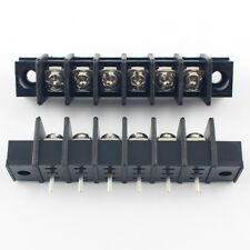 5Pcs Black 7.62mm Pitch 6 Pin Barrier Terminal Block Connector With Screw Hole