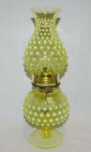 """Vintage Vaseline Opalescent Hobnail Oil Lamp 14"""" Imperial?"""