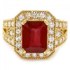 7.40 Carats Natural Red Ruby and Diamond 14K Solid Yellow Gold Ring
