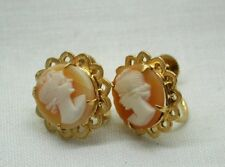 Very Nice Pair Of 9 Carat Gold And Carved Cameo Earrings