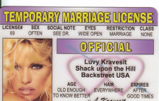 Temporary Marriage License LUVY KRAVESIT ( Lovey craves it )  Drivers License