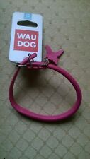 NEW WITH TAG. PINK ROLLED LEATHER WAU DOG COLLAR SIZE XS. CHARITY SALE