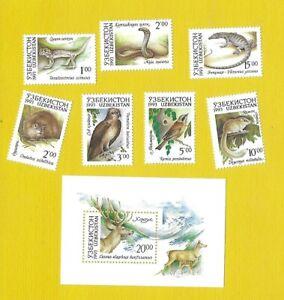 """USBEKISTAN 1993 - postfrisch**MNH - MiNr. 7-13 + Block 1 """"Tiere Usbekistans"""""""