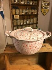 Vintage Mottled Red & White Enamel Twin-Handled Cooking Pot / Casserole – Kitch