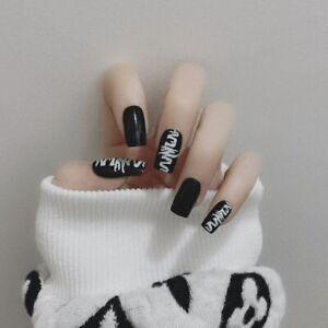 Gothic Glossy Graffiti Black False Nails Art Tips Square Press On Nail Fake Nail