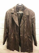 Valerie Stevens Womens Leather Jacket Coat Size 2X Brown Long Sleeve