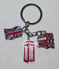 BRITISH Flag Bus Phonebooth Metal Alloy KEY CHAIN Ring Keychain NEW