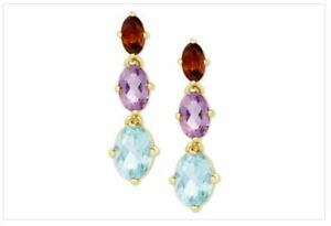 Multi-Gemstone Drop Earrings in 18k Gold-Plated Sterling Silver NEW with tag&box