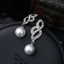 E969 Betsey Johnson Vintage Downton Abbey Crystal Stone Drop Pearl S Earrings US