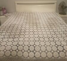vintage hand made cotton crochet shabby chic sheek queen double quilt bedspread